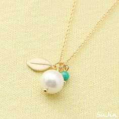 White Pearl with Mini Leaf and Green Stone Gold by SujinSimpleChic.