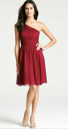 REVEL: Cranberry Bridesmaid Dress $265    Description: This beautifully shirred, one-shoulder dress from Ann Taylor is made of whisper-light silk georgette and flaunts a romantic silhouette to flatter all shapes. Also available in Grey.