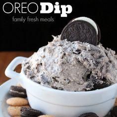 Creamy Oreo Dip Dessert Recipe Desserts with cream cheese, butter, whipped cream, powdered sugar, brown sugar, vanilla extract, OREO® Cookies