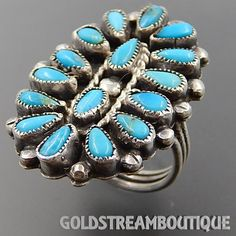 Native American Old Pawn Sterling Silver Navajo Zuni Turquoise Petite Point Cluster Oval Ring - Size 6.5