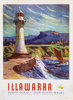 Illawarra South Coast New South Wales Australia Travel Advertisement Art Poster Vintage Advertising Posters, Vintage Travel Posters, Vintage Advertisements, Posters Australia, Australia Photos, Australian Vintage, Tourism Poster, South Pacific, Australia Travel