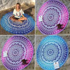 Indian Mandala Runde Tapisserie Wandbehang Strandtuch Badetuch Handtuch Yoga | eBay