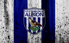 Download wallpapers FC West Bromwich Albion, 4k, Premier League, logo, England, soccer, football club, grunge, West Bromwich Albion, art, stone texture, West Bromwich Albion FC