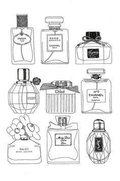 Luise M  Illustration, Parfüm, Flakon, Mode Illutration, Zeichnung, Bleistift, Schwarz / Weiß,