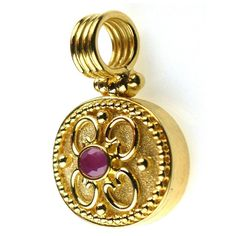 Handmade traditional gold pendant with ruby. For more handmade gold pendants and gold lockets with rubies and emeralds see Athena's Treasures.