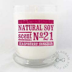 CandleGram 10oz Soy Candle....Scent No.18 Raspberry by CandleGram