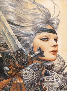 Beautiful woman warrior with intricate full plate armor, sword, silver grey hair, fierce expression. Love this! Great Science Fiction Art by Juan Gimenez.