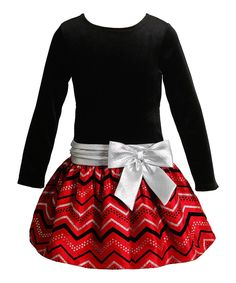Look what I found on #zulily! Black & Red Zigzag Bow Dress - Toddler & Girls by Youngland #zulilyfinds