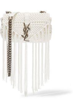 Saint Laurent | Monogramme Baby leather-trimmed tasseled crochet shoulder bag | NET-A-PORTER.COM