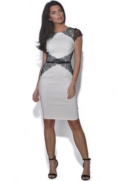 63f57ad209 paper dolls black short sleeve mesh panel detail bodycon dress Bodycon Dress  With Sleeves
