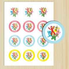 "DIY, Printable Yo Gabba Gabba 2"" Circle, Party Tags, Cupcake Toppers 