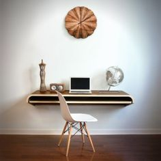 Dario Antonioni of Design Lab conceived of the Float Wall Desk as a perfect space-saving work area for the modern home office. It's simple design lends itself to any wall space and even with no legs the desk still manages to accommodate a slide out tray. Contemporary Desk, Modern Desk, All Modern, Modern Furniture, Furniture Design, Modern Wall, Office Furniture, Furniture Ideas, Smart Furniture