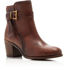 Frye Malorie Knotted Buckle Mid Heel Booties ($348) ❤ liked on Polyvore featuring shoes, boots, ankle booties, redwood, frye, strap boots, strappy booties, frye booties and leather boots