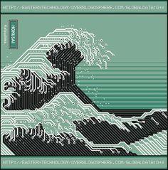 hokusai by Alain Bousquet Illustrations, Illustration Art, Digital Wave, Arte Nerd, New Retro Wave, Arte Cyberpunk, Cyberpunk Anime, Cyberpunk Aesthetic, Psy Art