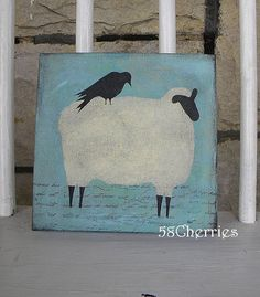 crows and sheep decor   Shabby Sheep Canvas with Crow - Original - French Prim Decor and Folk ...