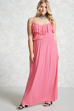 Forever 21 + - This maxi dress is crafted from a stretch knit and features adjustable cami straps, an elasticized waist, and a ruffled flounce bodice.