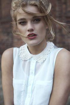 Her make-up and peter pan collar