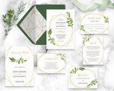 geometric wedding invitation suite printable invitation set modern greenery leafy gold clean elegant minimalist wedding stationary diy #GLG by DesignYourLove on Etsy https://www.etsy.com/listing/552936452/geometric-wedding-invitation-suite