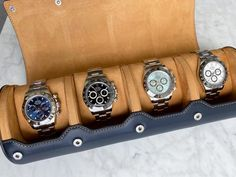 We love to see what kind of watches our clients keep in their Everest watch rolls. @ilikerolexes has one of the best modern Rolex collections around. Which Daytona would you choose? White gold blue dial for me! 🙋♂️ Rolex Tudor, Swiss Made Watches, Sports Models, Rolex Daytona, Rolex Submariner, Watch Bands, Rolls, White Gold, Collections