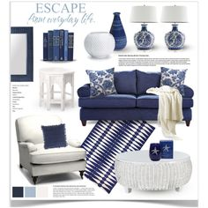 Blue and White Decor by jpetersen on Polyvore featuring interior, interiors, interior design, home, home decor, interior decorating, Williams-Sonoma, Zara Home, Barclay Butera and Jonathan Adler