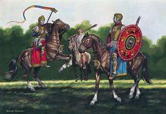 """Cavalry equipped for the hippika gymnasia, 3rd century AD"" Ronald Embleton"