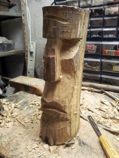 Moai - WIP by jbensch on DeviantArt Wood Carving Faces, Wood Carving Patterns, Wood Carving Art, Wood Art, Stone Crafts, Wood Crafts, Day Of The Dead Artwork, Tiki Head, Tiki Bar Decor