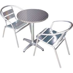 Commercial Aluminium Cafe Bar Table And Chairs Set | Buy 2 Seat Sets