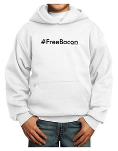 TooLoud Hashtag Free Bacon Youth Hoodie Pullover Sweatshirt