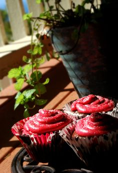 The ButterMilk Dark Chocolate Nutella Cupcakes with RaspBerry Frosting That I Made Today ♥ Picture Two !