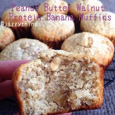 Peanut butter walnut protein banana muffins. Recipe: in a food processor, combine 2c oats, 1t baking powder, 3 scoops of vanilla whey protein powder. Add two ripe bananas, 1t vanilla, 1/2c honey, 3 eggs and 1c creamy peanut butter. Then stir in chopped walnuts. Pour into muffin tins. Bake at 350F for 12-ish min. I didn't time them, but they're done when they're golden and a toothpick comes out clean. I made this recipe up as I went, so I would add cinnamon too/