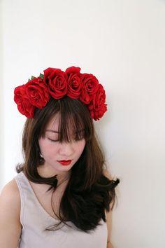 Large Red rose Headband //  Oversize large rose by BubblyFluff, $33.00
