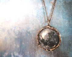 Full Moon Necklace.. Sterling Silver Rollo Chain.. Double Sided Medium Glass Lens Pendant and Oxidized Sterling charm.  by RrenatandJonathon at Etsy