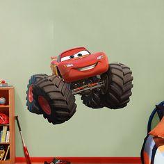 Lightning McQueen - Monster Truck | REAL.BIG. Fathead – Peel & Stick Wall Graphic | Disney Cars Wall Decal | Disney Decor | Bedroom/Playroom/Nursery