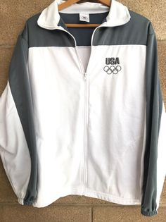 United States Olympic Committee With Rings Zipper White Jacket Made in USA Large