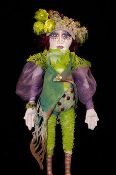 art dolls, beads, fiber art