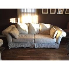 Traditional Traditional Taupe Brocade Couch and Loveseat - A Pair For Sale - Image 3 of 5 Small Couch, Free Fabric Samples, Second Hand Furniture, Couch And Loveseat, Second Hand Shop, Sofa Shop, Types Of Furniture, Grey Carpet, Love Seat