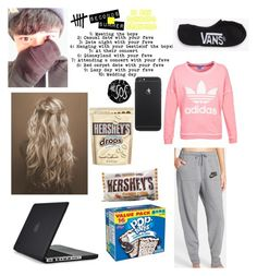 """""""5sos 10 day challenge❁ Lazy day with your fave"""" by kaylarose8902 ❤ liked on Polyvore featuring Speck, NIKE, adidas, Vans and Hershey's"""