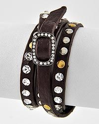 Brown leather bling wrap bracelet