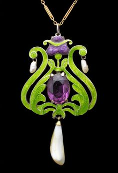 """CHILD & CHILD, Suffragette Pendant Silver Gold Enamel Amethyst Pearl British, c.1908. Green, white and violet were a code for """"give women the vote."""". @designerwallace"""