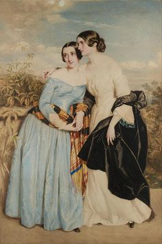 George Richmond (1809 - 1896) - Portrait of Mrs Partridge and her sister Miss Croker.