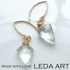 Rock Crystal Gold-filled Ear Hooks