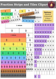 Fraction Strips and Tiles Clipart - Over 220 Graphics! by PrwtoKoudouni Creative Homework Ideas, Math Fractions, Maths, Strip Diagram, Fraction Activities, School Daze, Math Lessons, Teaching Math, Mathematics