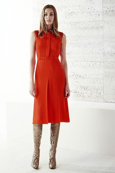 Gucci | Resort 2015 Collection | button front dress belted natural waist a-line below the knee