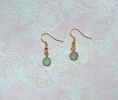 Ohrringe - Dezente Ohrringe Gold Hellblau - ein Designerstück von MiMaKaefer bei DaWanda