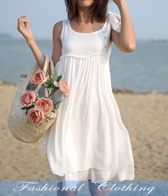$29 - white dress spring dress autumn dress summer by FashionalClothing