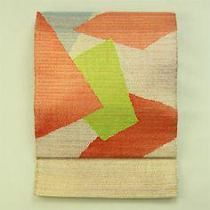 White and gold, fukuro obi / 普段使いに 白×金の織り地に多色の抽象お太鼓柄 袋帯