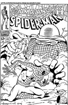 Nice and intricate -great for older children and even adults - comic page coloring sheet of Spiderman.