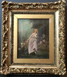 "This is an historical oil painting of Lucia di Lammermoor in the fountain scene.    This original piece of art comes in an ornate and gilded 19th Century period frame.      There is a professional restoration on the pink dress. Two small punch marks can be seen in the background.    Frame: 17""h x 15""w  Image: 10""h x 8""w    Visit Our Store for more!...  https://www.etsy.com/shop/ArtAndAntiquesStudio?ref=search_shop_redirect 