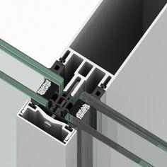 Detalle de Sistema R50T de muro cortina Riventi