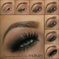 #theamazingworldofj #motivescosmetics Apply Cappuccino as transition shade & highlight the brow bone with Vanilla Darken the outer v with Onyx Apply Heavy Metal all over the lid and along the bottom lash line, brighten the inner corner with Vanilla Apply black eyeliner on the waterline Apply Motives Glitter Adhesive a long the bottom lash line & carefully tap on the glitter of your choice, using an angled eyeliner brush Apply Liquid Liner in Noir along the top lash line
